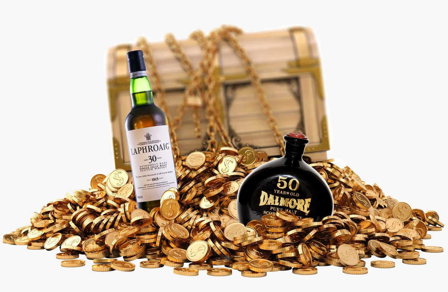 Whisky Bottles and Treasure Chest with Coins
